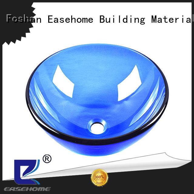 Easehome bowl round black glass sink trendy design bathroom