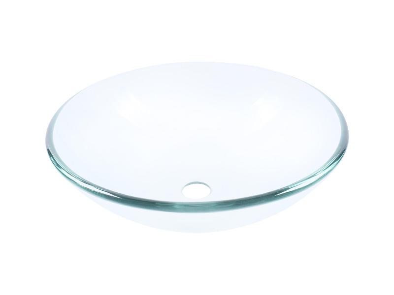 Clear Tempered Glass Vessel Bathroom Vanity Sink Round Basin Bowl 12'' 14'' 16''
