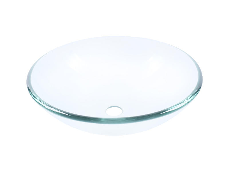 Clear Tempered Glass Vessel Bathroom Vanity Sink Round Basin Bowl 12'' 14'' 16''