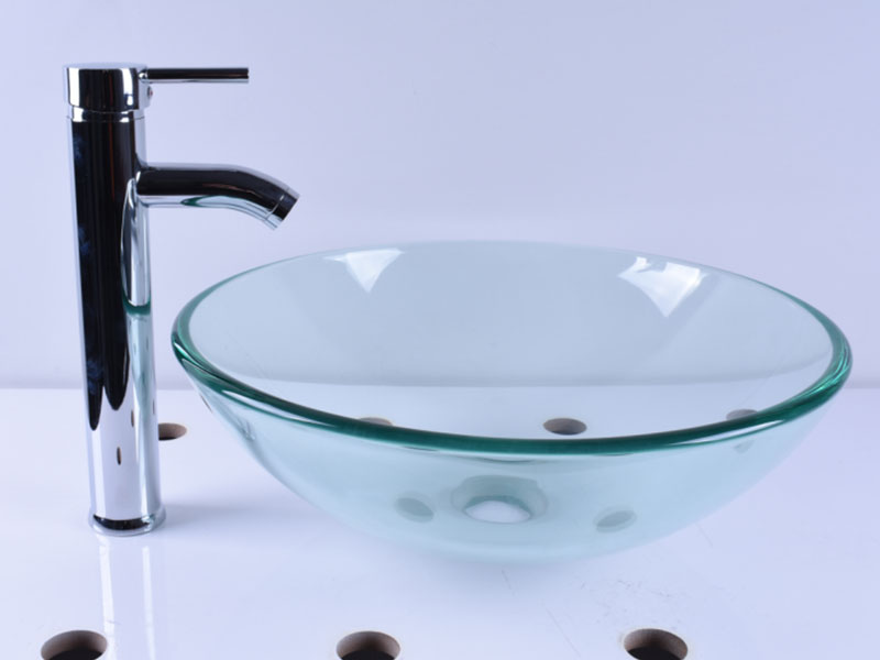colorful glass countertop basin trendy design bathroom-10