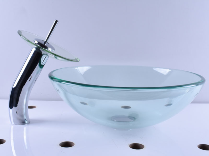 colorful glass countertop basin trendy design bathroom-11
