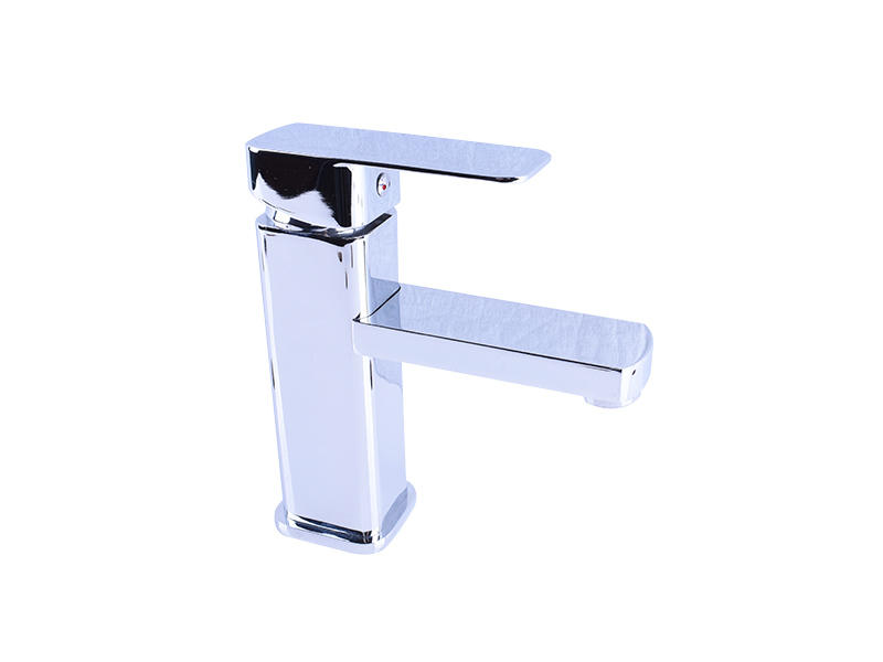 Square Brass Sink Faucet Commercial Basin Mixer Tap With Chrome Finished
