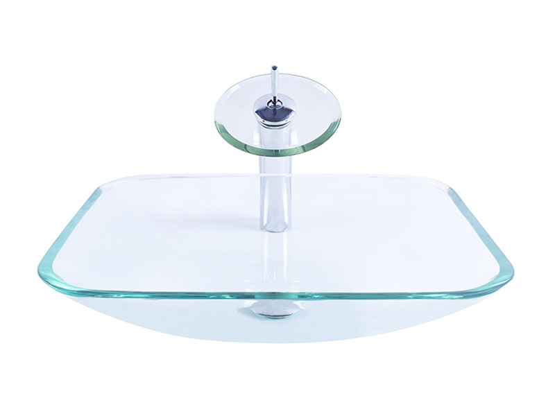 Crystal Clear Glass Rectangular Washbasin Sink With Pop Up Drain And Faucet-9