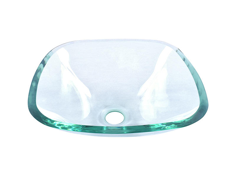Bathroom Tempered Glass Vessel Sink Clear Square Shape Transparent Basin