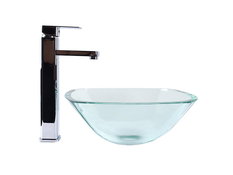 Bathroom Tempered Glass Vessel Sink Clear Square Shape Transparent Basin