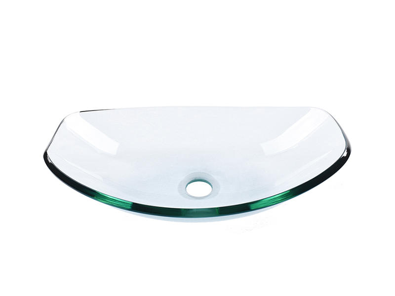 Tempered Clear Glass Ingot-Shaped Wash Basin With Glass Waterfall Faucet
