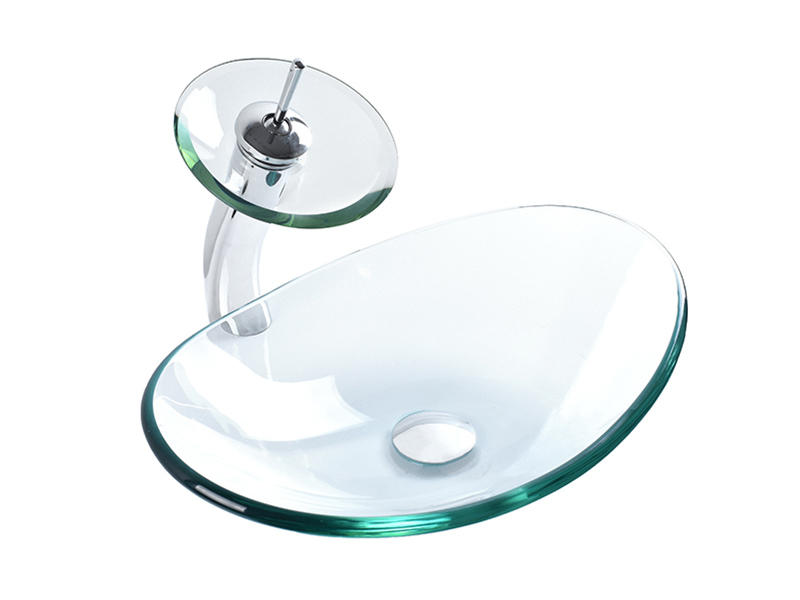 Bathroom Clear Boat Oval Shaped Glass Vessel Vanity Sink With Chromed Faucet