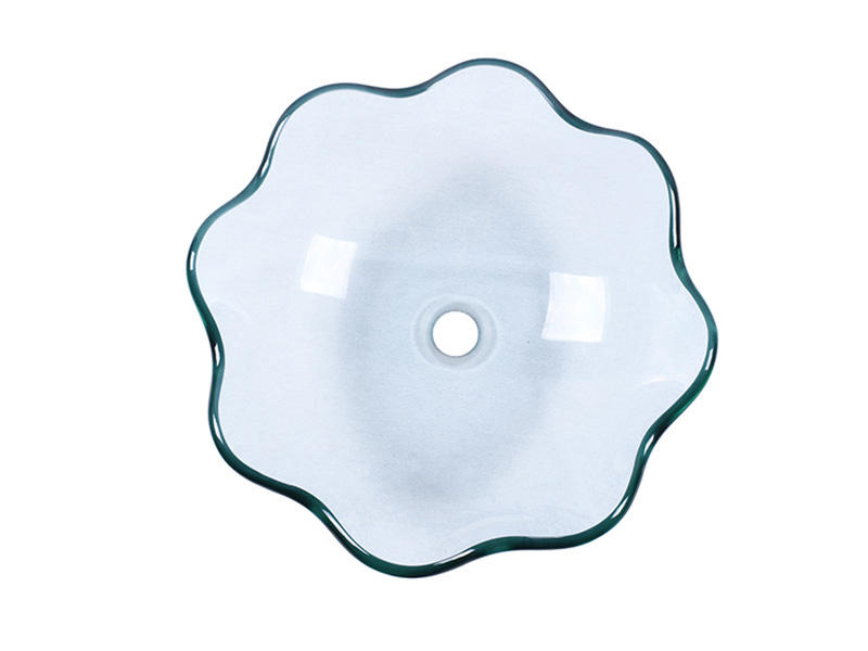 Lotus Shaped Clear Tempered Glass Bathroom Basin Sink Vessel