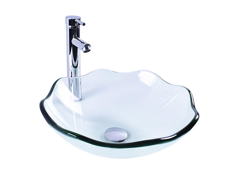 colorful glass bowl basin transparent trendy design bathroom