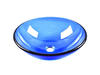 14'' Inch Blue Semi-Transparent Round Shaped Tempered Glass Vessel Sink