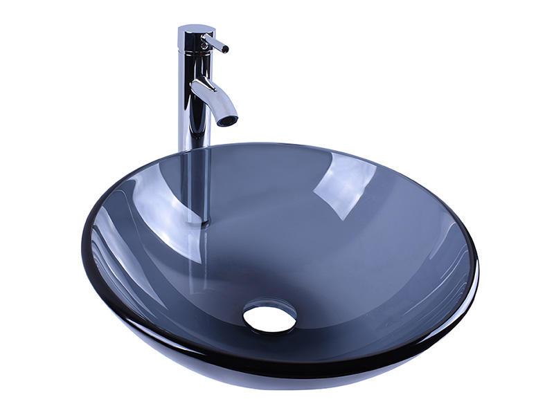 Bathroom Black Translucent Glass Round Sink Vessel Bowl 14''