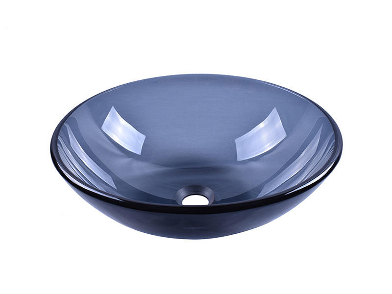 Bathroom Black Translucent Glass Round Sink Vessel Bowl 14''