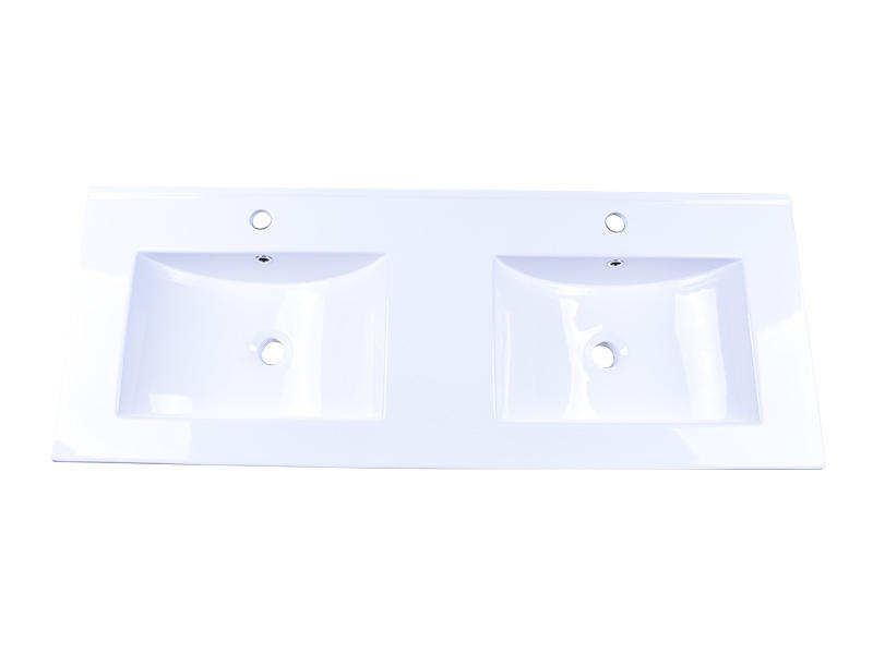Washroom Ceramic One-Piece Drop-In Wash Basin Sink With 1.2 m Double Bowl