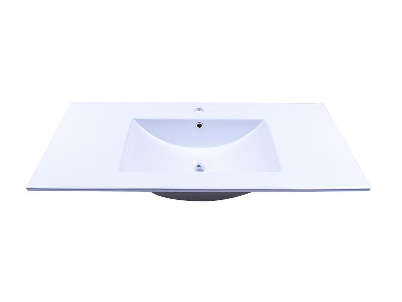 Bathroom White Porcelain Ceramic Vanity Counter Top Wash Sink Vessel 40 Inch