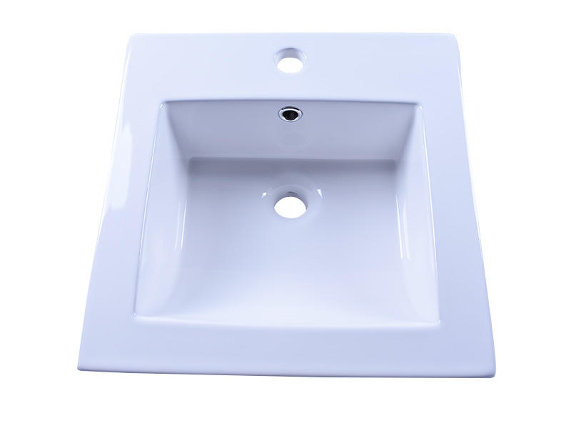 16'' Square Drop In White Bathroom Ceramic Sink Counter Top With Overflow
