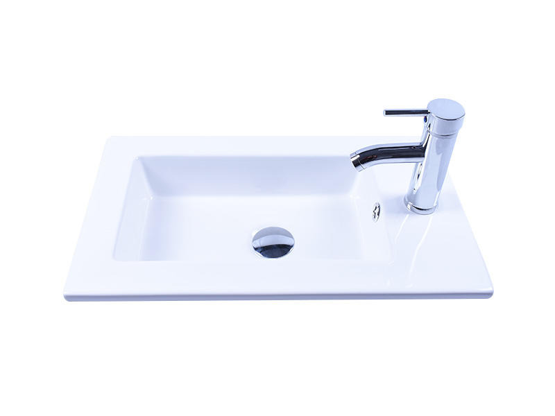 Rectangle White Porcelain Ceramic Basin Sink & Chrome Faucet Combo