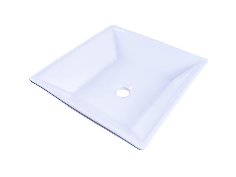Above Counter Bathroom White Porcelain Vessel Sink Art Basin With Chrome Faucet