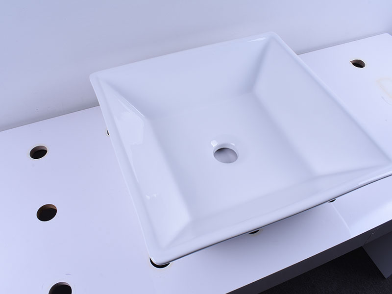 Above Counter Bathroom White Porcelain Vessel Sink Art Basin With Chrome Faucet-6
