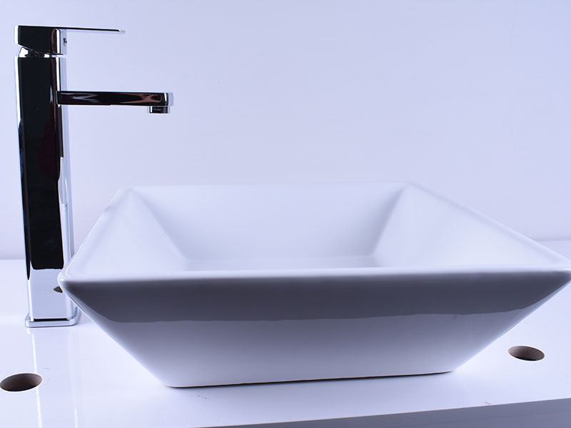 Above Counter Bathroom White Porcelain Vessel Sink Art Basin With Chrome Faucet-7
