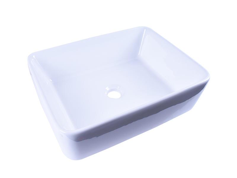 Rectangular White Above Counter Ceramic Vessel Sink 19''X 16''