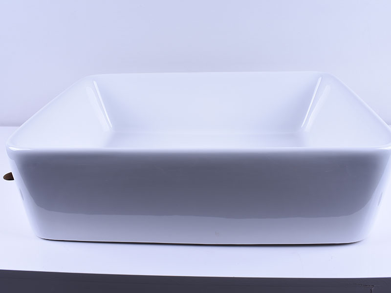 Rectangular White Above Counter Ceramic Vessel Sink 19''X 16''-4