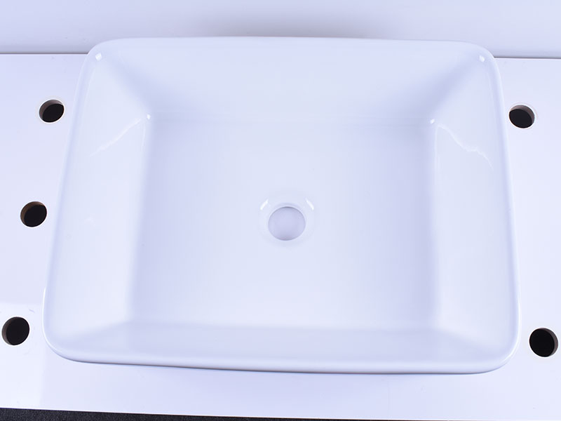 Rectangular White Above Counter Ceramic Vessel Sink 19''X 16''-5