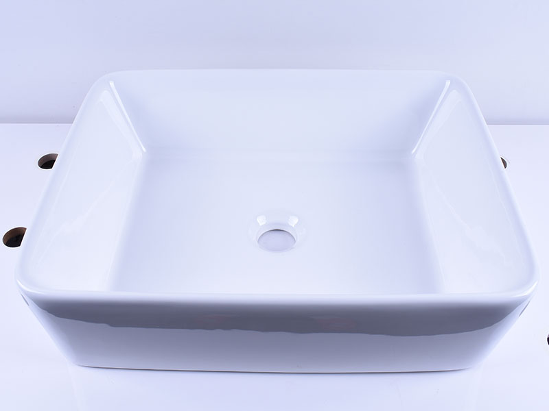 Rectangular White Above Counter Ceramic Vessel Sink 19''X 16''-6