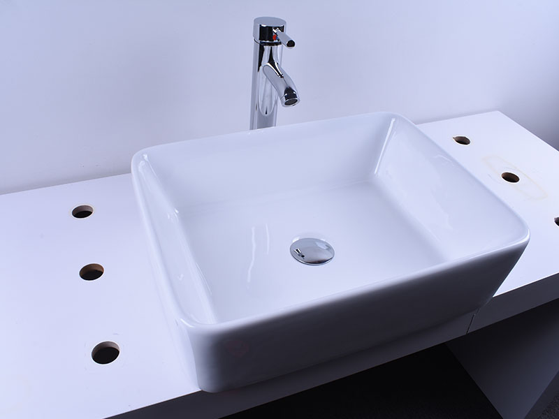 Rectangular White Above Counter Ceramic Vessel Sink 19''X 16''-7