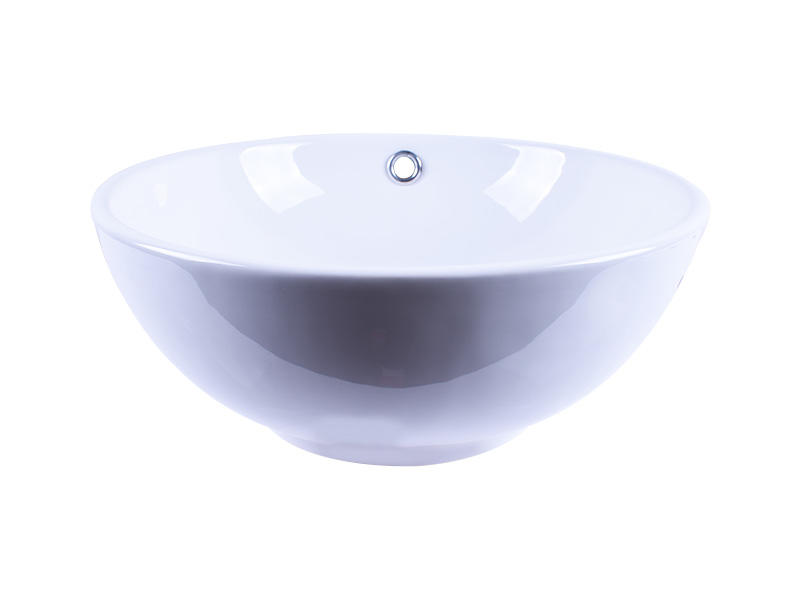 13x13 Round Bowl Above White Porcelain Ceramic Vessel Vanity Sink Art Basin