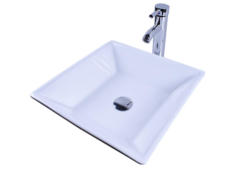 Above Counter Bathroom White Porcelain Vessel Sink Art Basin With Chrome Faucet-2