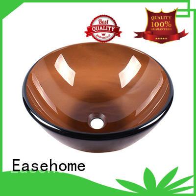 Easehome lotus shaped black glass vessel sink brown bathroom