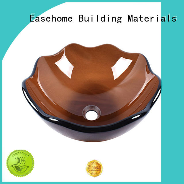 Easehome square shape tempered glass vessel sink durable washroom