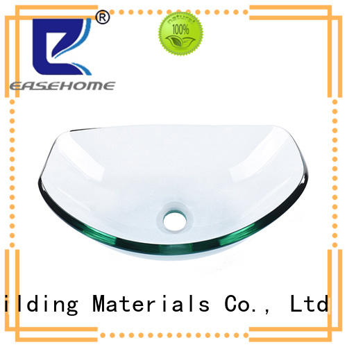 Easehome crystal tempered glass vessel sink best price washroom