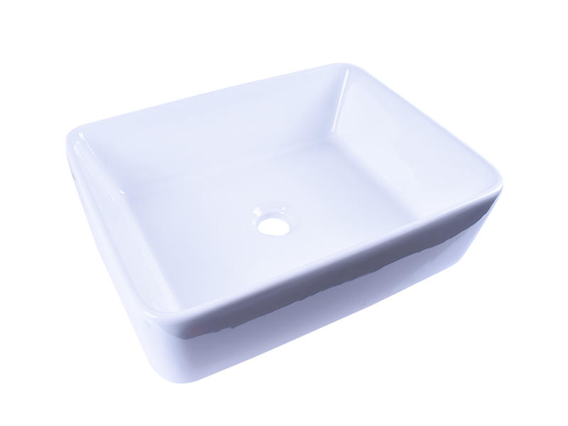 Rectangular White Above Counter Ceramic Vessel Sink 19''X 16''-1