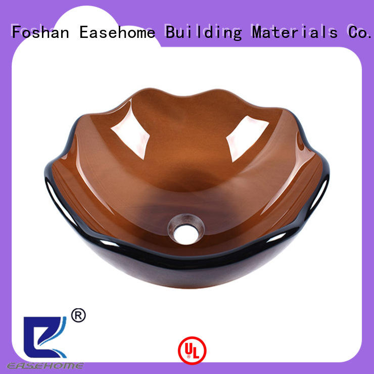 Easehome lotus shaped glass wash basin best price bathroom