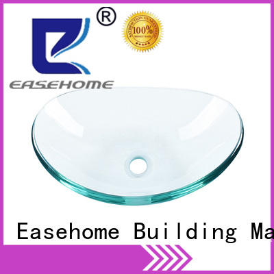 Easehome crystal tempered glass vessel sink bowl round washroom