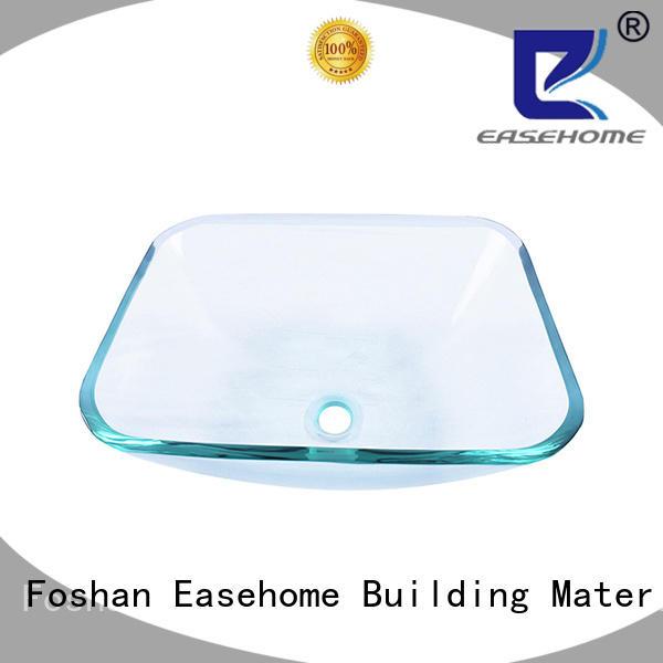 Easehome rectangular glass wash basin best price washroom
