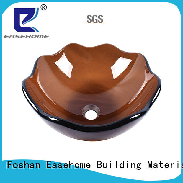 lotus shaped glass wash basin oval shaped trendy design bathroom