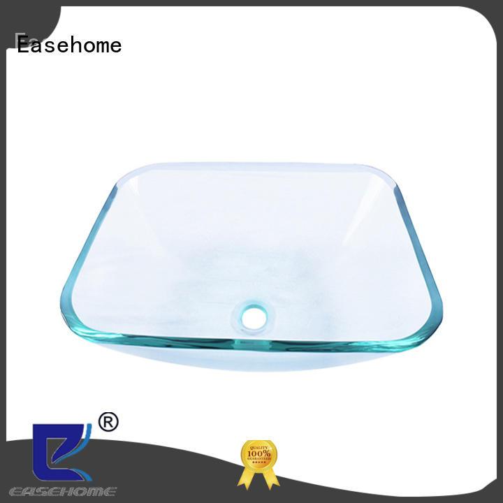 rectangular clear glass vessel sinks brown washroom Easehome