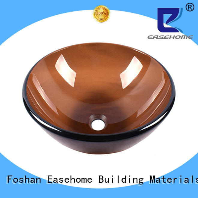 Easehome rectangular brown glass vessel sink best price bathroom