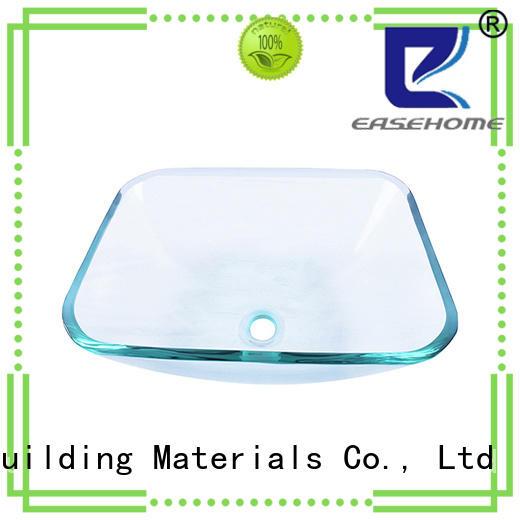 crystal glass basin square shape trendy design bathroom
