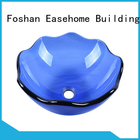 Easehome bowl round wall mount glass sink customization washroom