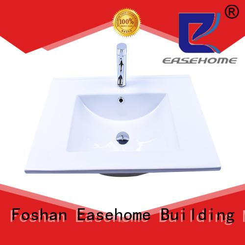 White Impression Porcelain Ceramic Bathroom Vanity One-Piece Counter Top Integrated Washbasin Sink