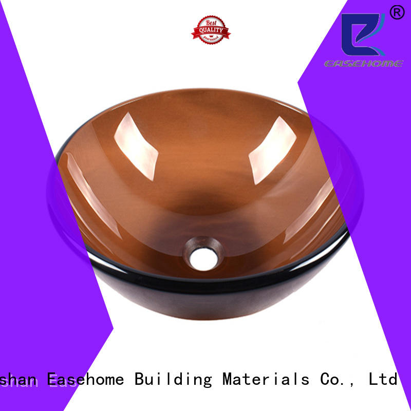 Semi transparent Above Counter Round Basin Sink Bowl in Bronze Color