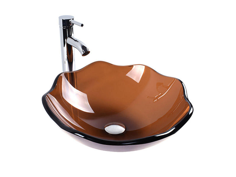 Easehome crystal brown glass vessel sink customization apartments-3