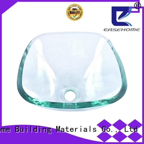 Easehome transparent red glass vessel sink customization washroom