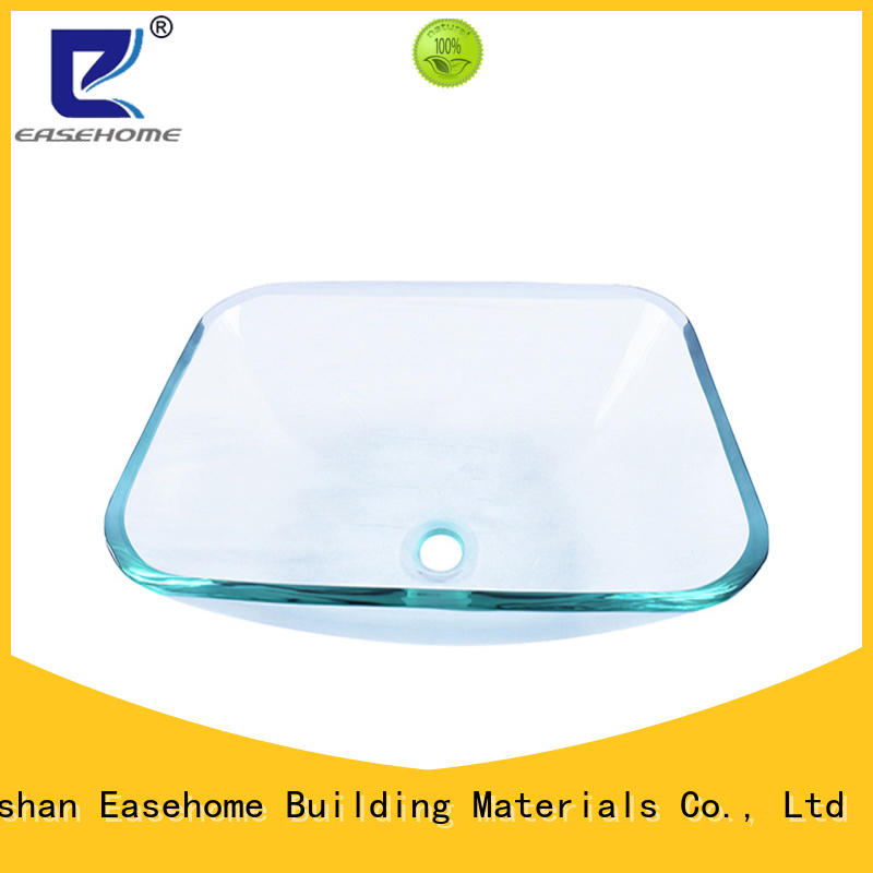 Easehome crystal tempered glass vessel sink customization apartments