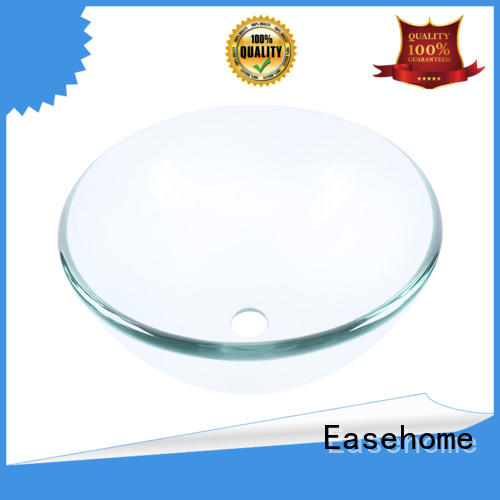 super white clear glass sink oval shaped washroom Easehome