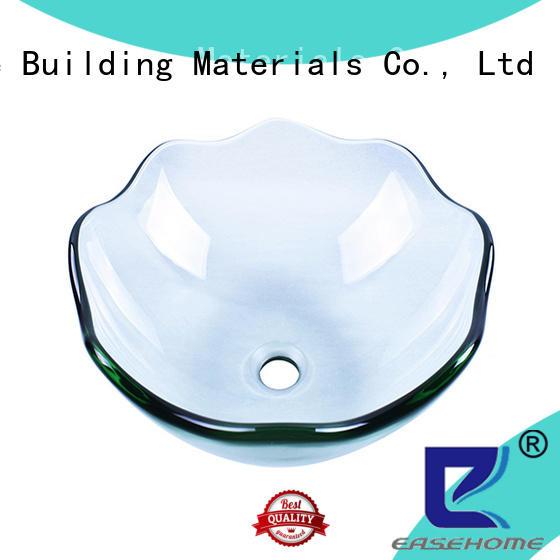 lotus shaped green glass vessel sink bronze color trendy design washroom