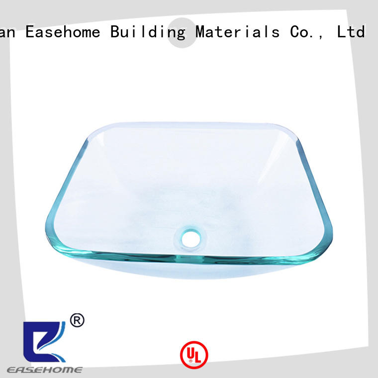 Easehome super white wall mount glass sink customization bathroom